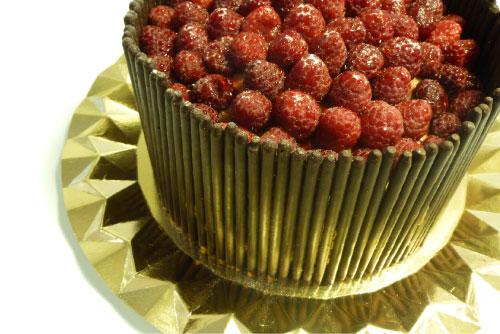 Tarta de fiesta de chocolate y frambuesas