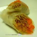 Rollitos de salmón marinado con crujientes